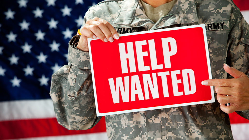 Help Wanted sign, army